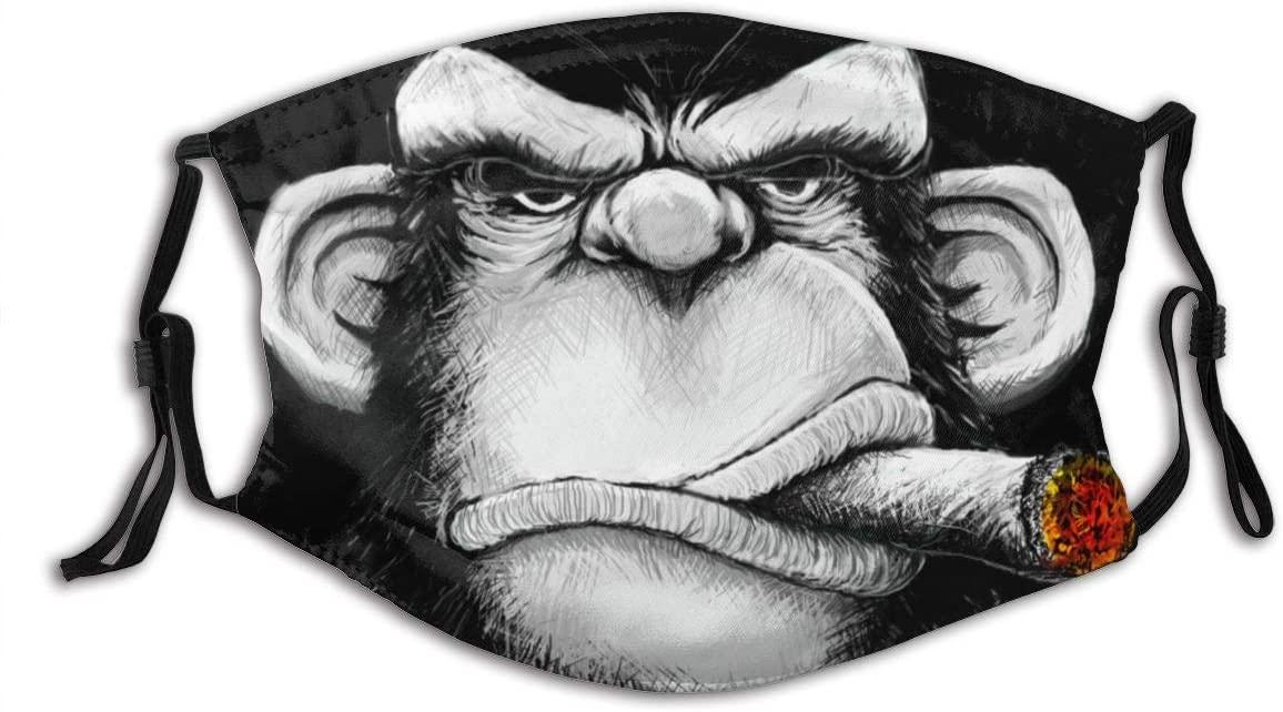 Monkey Cigar Gorilla Smoking Cigarette Reusable Washable Face Bandanas, Funny Pattern, Adjustable Earloop, Breathable