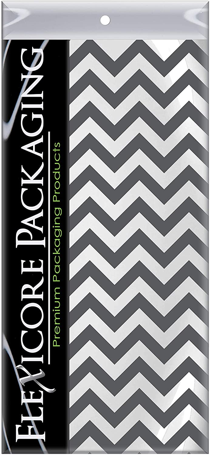 Flexicore Packaging Gray Chevron Print Gift Wrap Tissue Paper Size: 15 Inch X 20 Inch | Count: 10 Sheets | Color: Gray Chevron