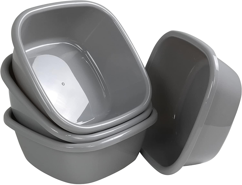 Begale 4-Pack 12 Quart Wash Basin, Gray Dish Bin