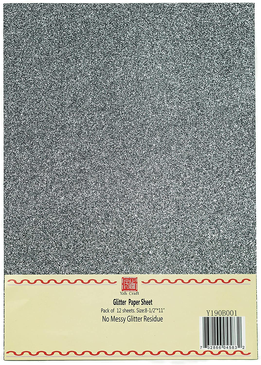 YZH Crafts Glitter Cardstock Paper,No-Shed Shimmer Glitter Paper, 8 Inch X 12 Inch, 12 Sheets, A4 Size (Black)