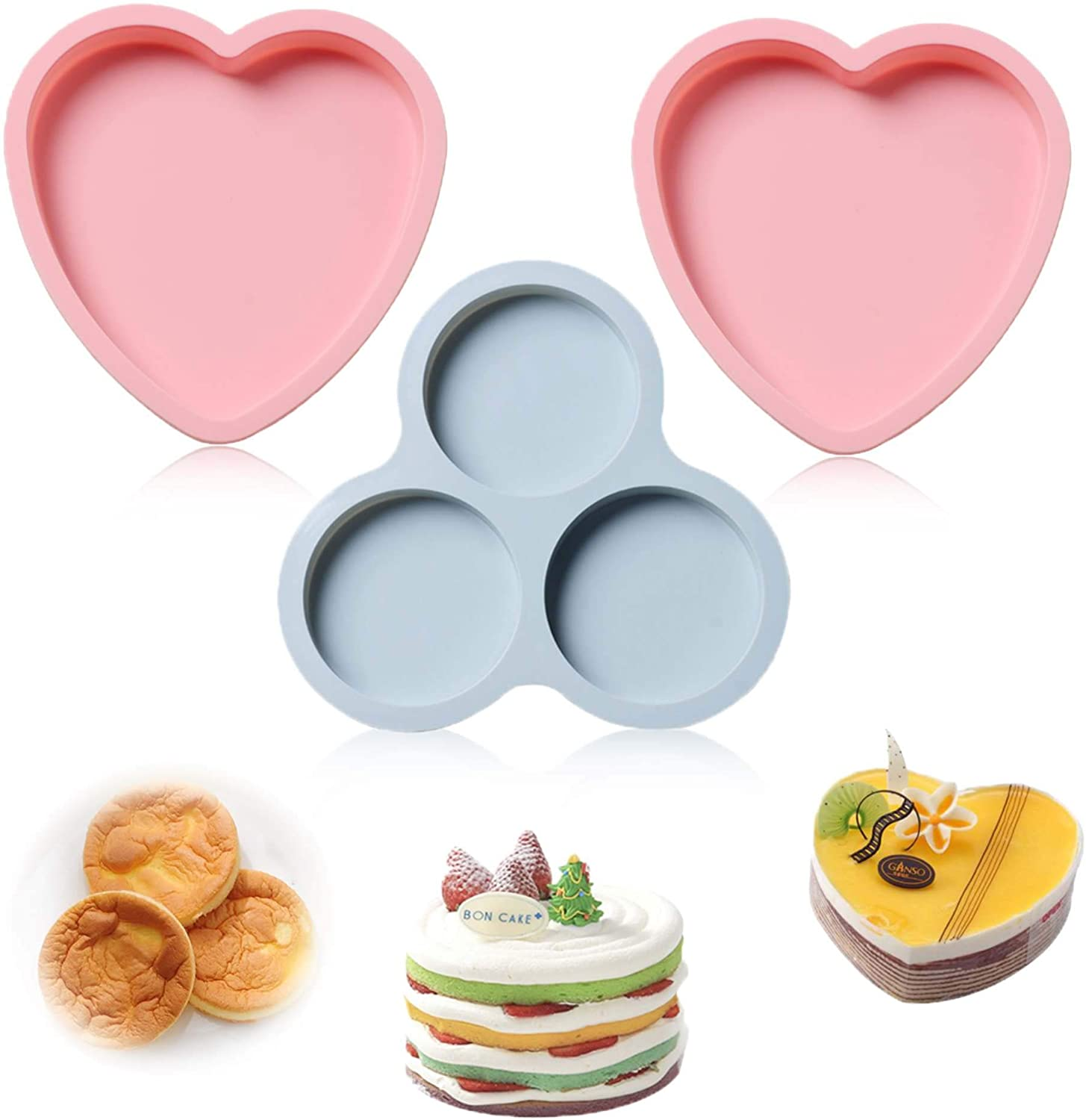 Jelly beans6 Cake Molds Silicone Round and Heart Shaped Baking Pans Set for Tarts, Cakes, Coasters, Pizza, Chocolate, Pie (Set of 3)