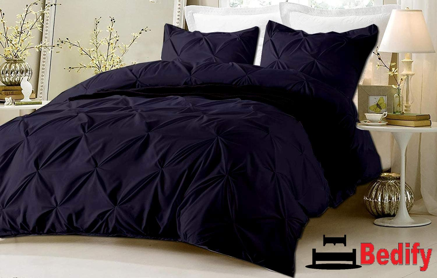 Bedify Soft Finish Long Staple 100% Organic Cotton 800-Tc Hypoallergenic Design & Fade Resistant 68X90 Twin/Twin XL Size 5pc Pinch Pleated Duvet Cover Set with Button Closure Navy Blue Solid