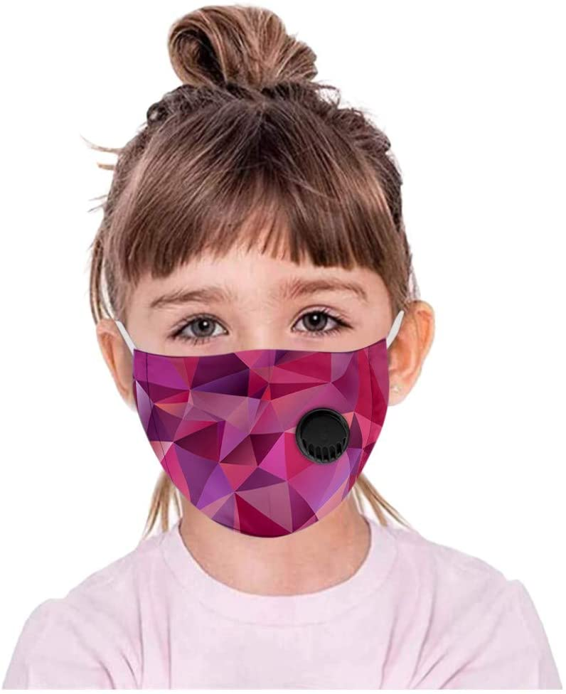 Wacinten Cotton Safety Facial Protection with Filters, Anti-Fog Dust-Proof Valve Adjustable Ear Loop with Cute Print for Kids, Full Face Cover Breathable Protective Mouth Cover