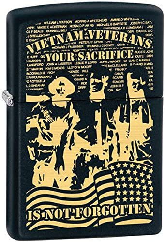 Vietnam Veteran Your Military Sacrifice Black Matte Zippo Lighter