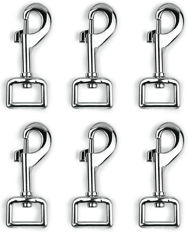 Garwor 6 Pcs Heavy Duty Chrome Swivel Snap Hooks with Spring,Rectangle 0.79