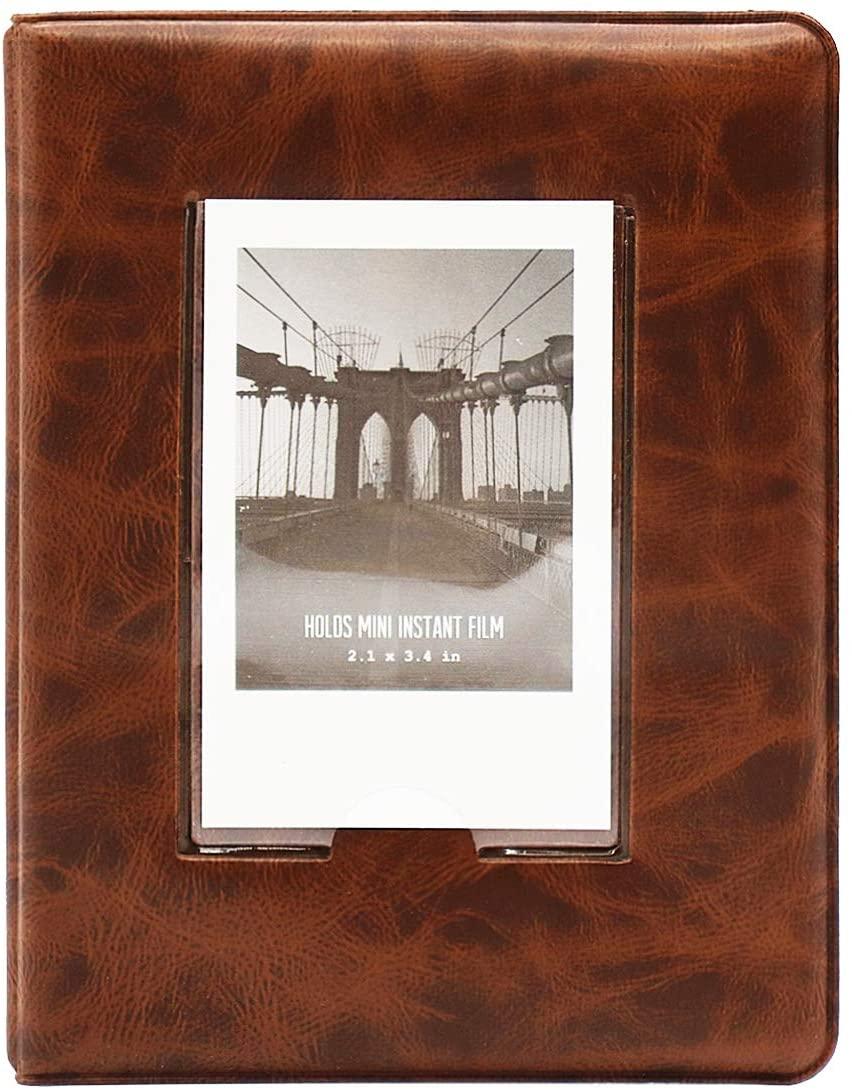 Big Trend 64 Pockets Mini Photo Album for Fujifilm Instax Mini 7s 8 8+ 9 25 26 50s 70 90 Instant Camera & Name Card (Retro Brown-1, 64 Pockets)