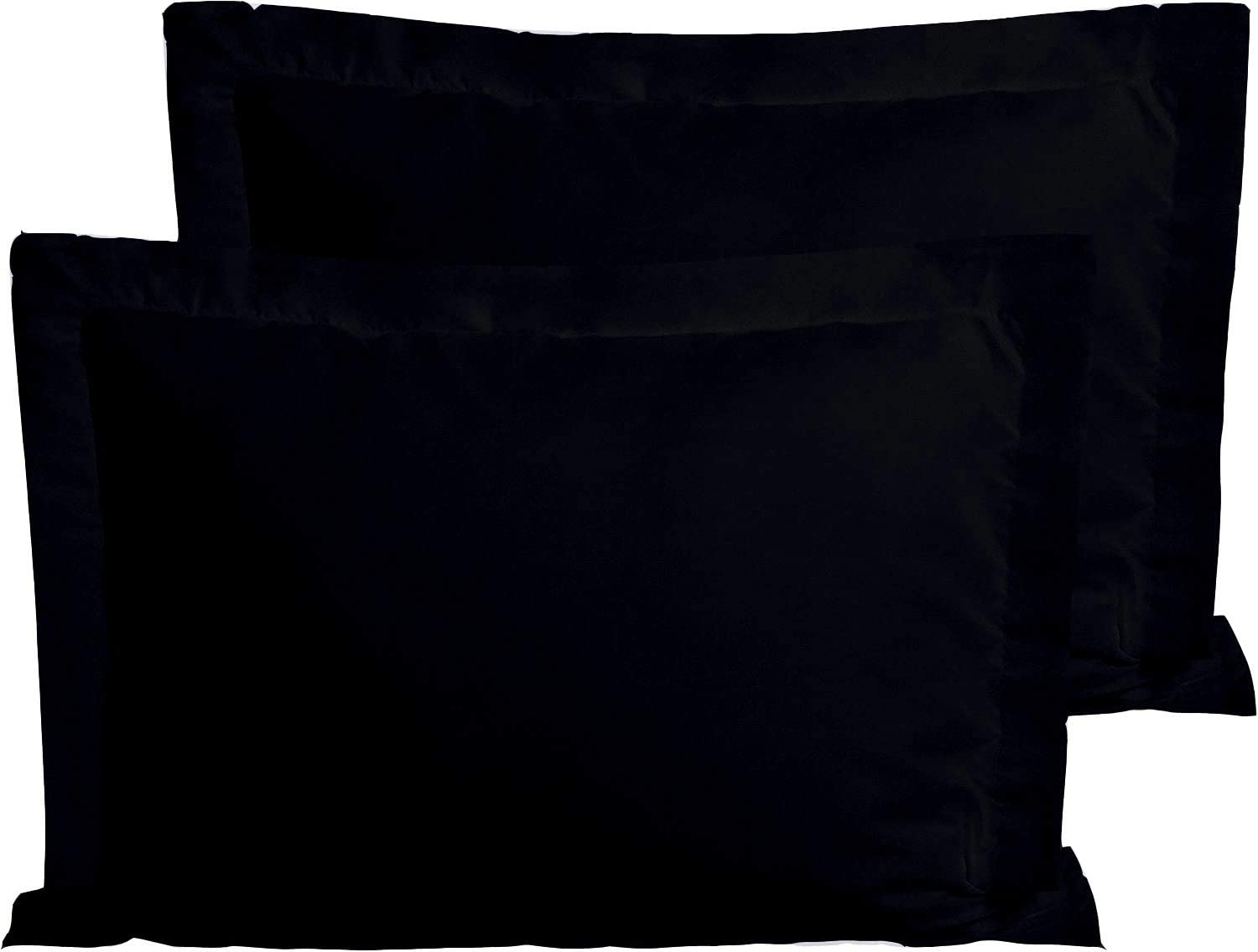 Trust Layer 800 Thread Count 100% Organic Cotton King Sized 20 x 40 inch Pillow Shams Set of 2 Navy Blue Solid