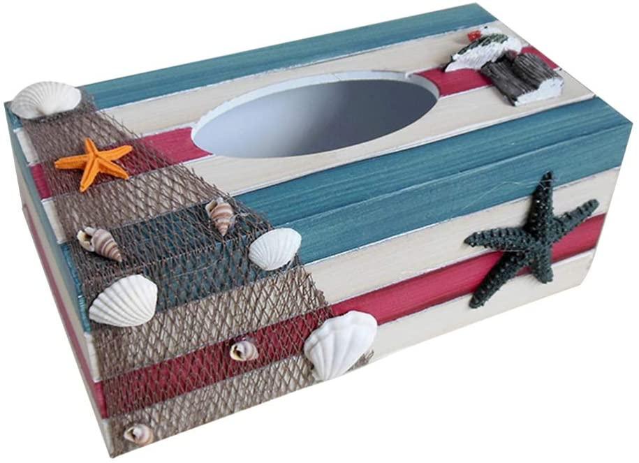 TOPBATHY Wood Tissue Box Cover Holders Mediterranean Decorative Tissue Box Coastal Beach Nautical Table Decorations Ornaments Size:24x2x10cm