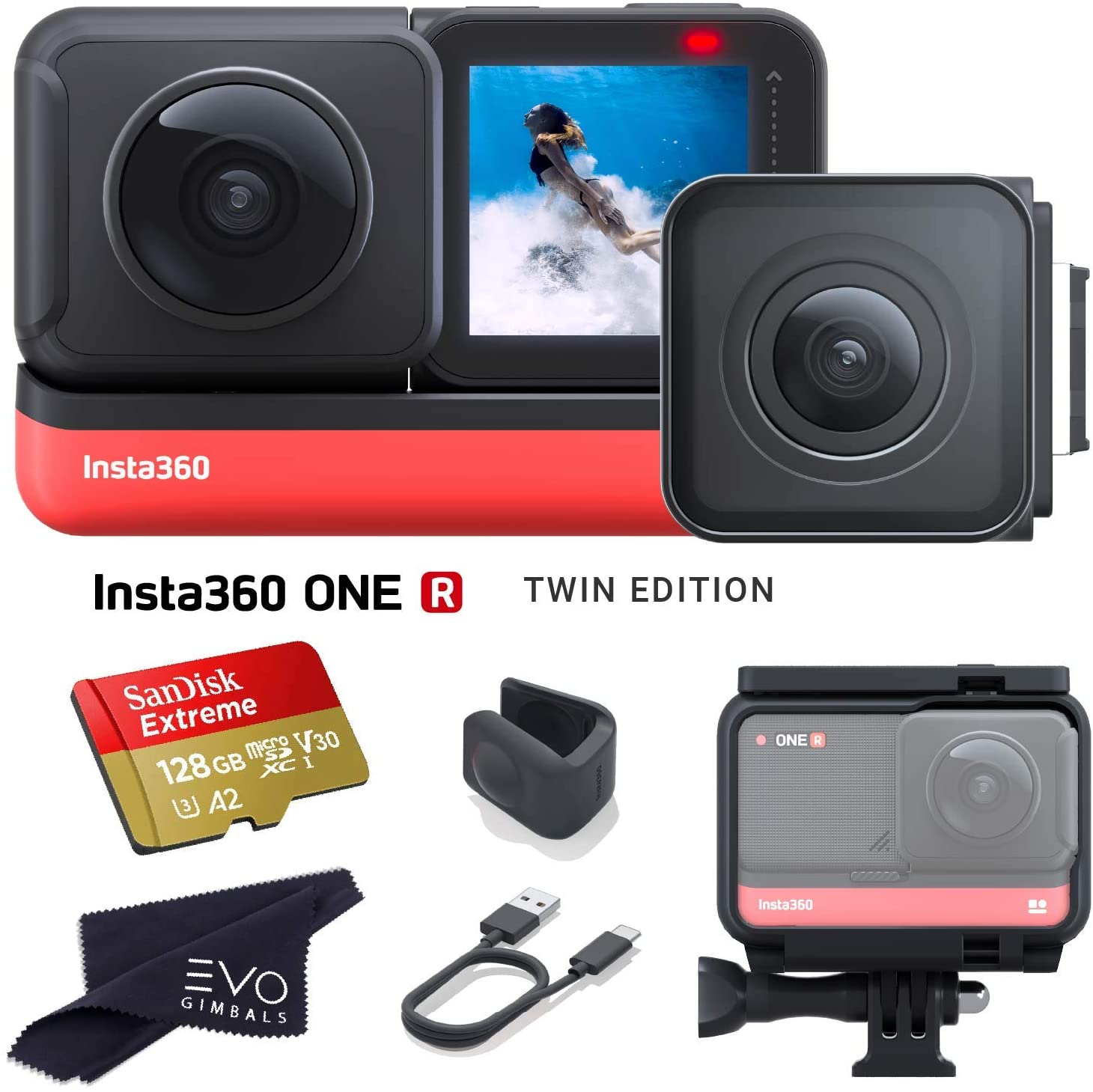 Insta360 ONE R Twin Edition - Super 5.7K Dual-Lens 360 Camera + 4K Wide Angle 60FPS with 128GB Memory Card (2 Items)