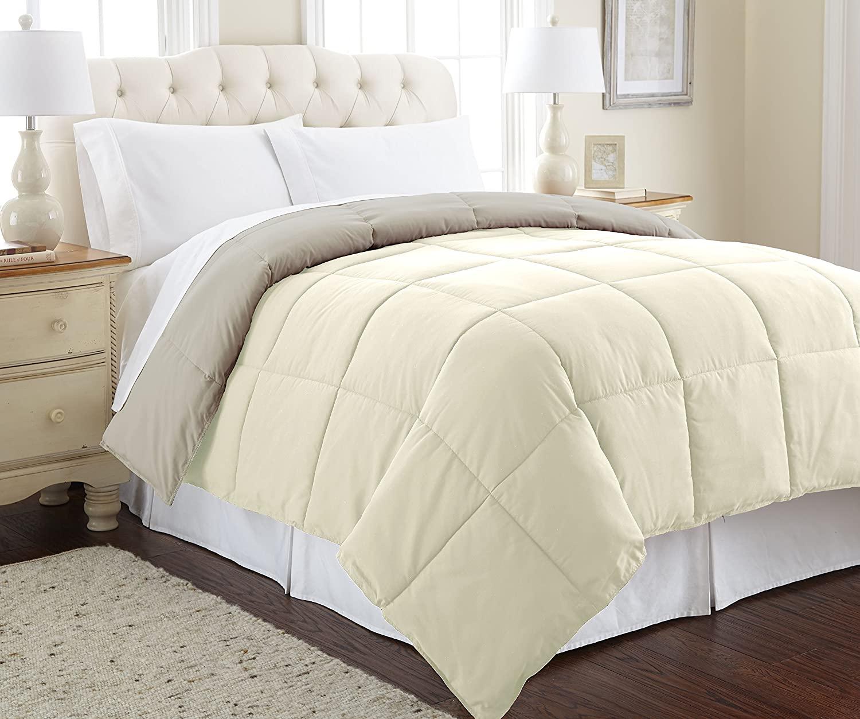 Amrapur Overseas | Goose Down Alternative Microfiber Quilted Reversible Comforter/Duvet Insert - Ultra Soft Hypoallergenic Bedding - Medium Warmth for All Seasons - [King, Ivory/Atmosphere]