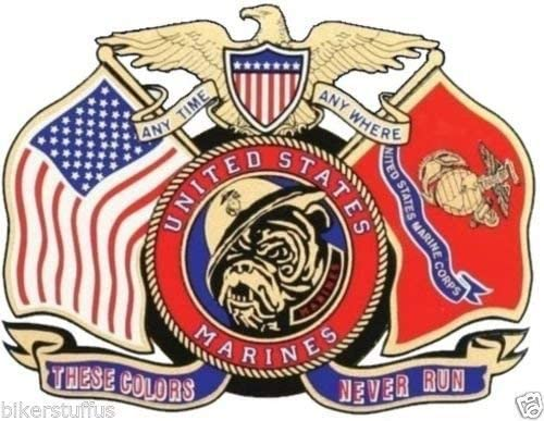 MFX Design USMC Us Marine Corps These Colors Never Run Window Bumper Sticker Decal Laptop Sticker Decal Vinyl - Made in USA 5 in. x 3.5 in.