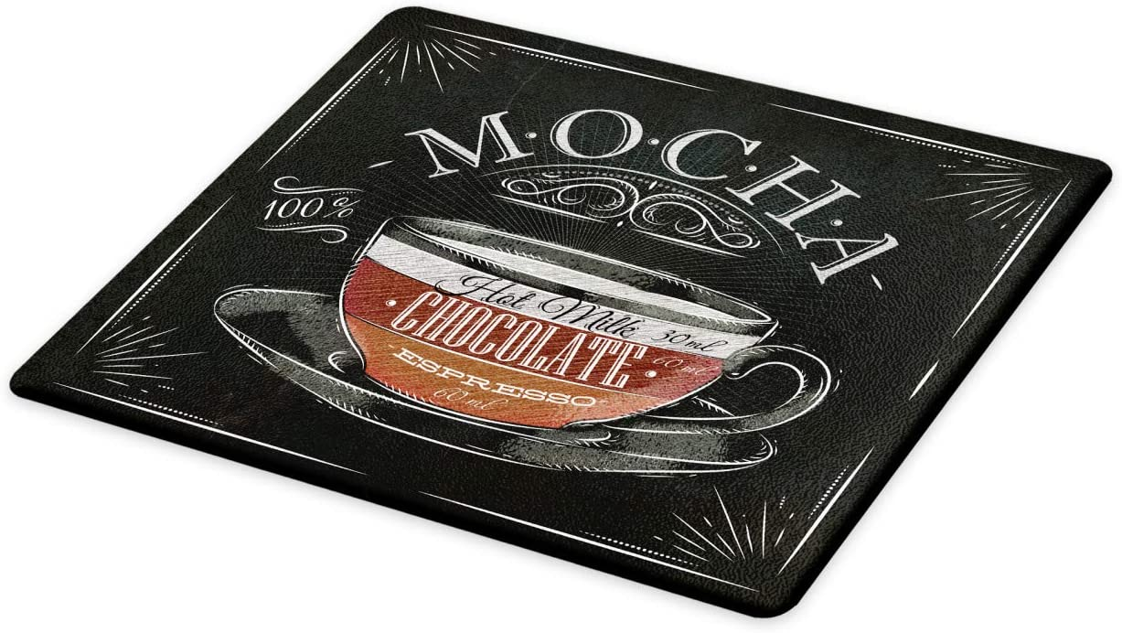 Lunarable Coffee Cutting Board, Mocha Cup Hot Chocolate Espresso Old Fashioned Italian Chalkboard Design, Decorative Tempered Glass Cutting and Serving Board, Small Size, Grey Black