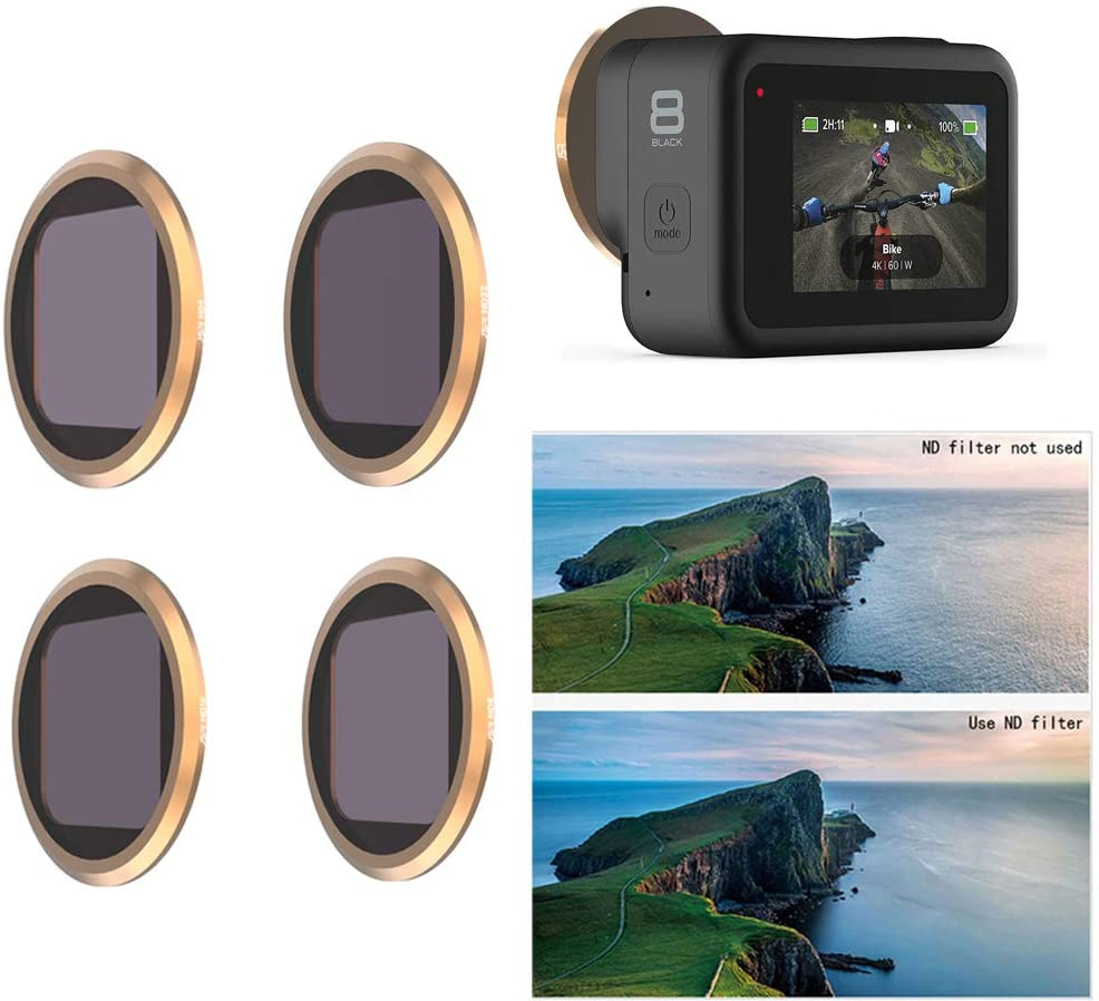 QKOO ND4/8/16/32 Neutral Density Filter for Gopro Hero 8 Black (Works with Media Mod)