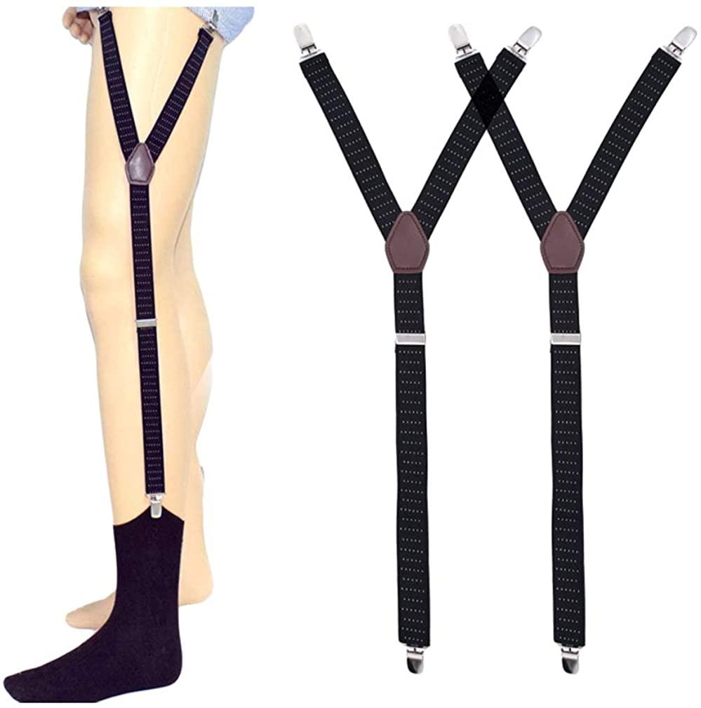 SupSuspen Men's Y Style Shirt Stays Garter Straps Socks Non-slip Locking Clamps