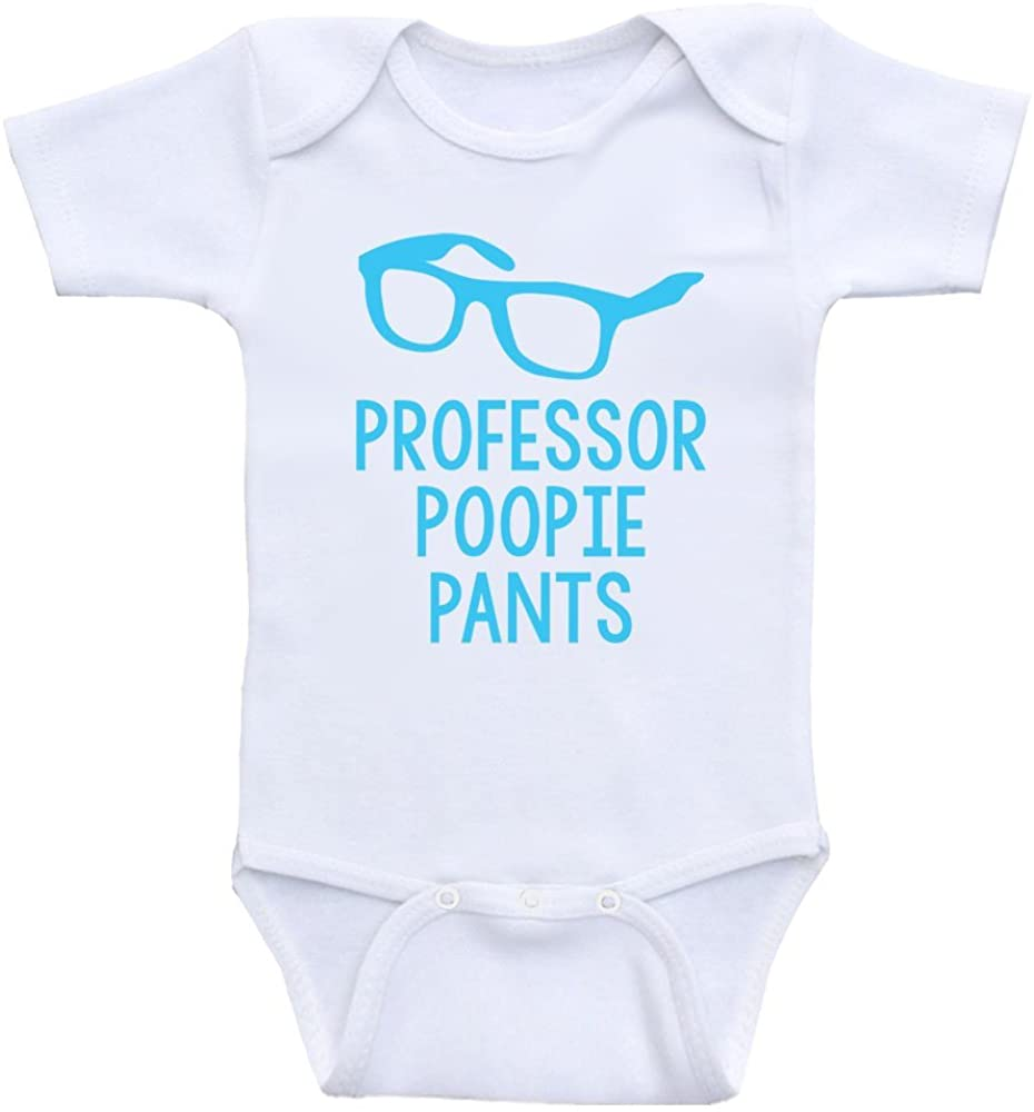 Heart Co Designs Funny Baby Boy Clothes Professor Poopie Pants Newborn Baby Bodysuits