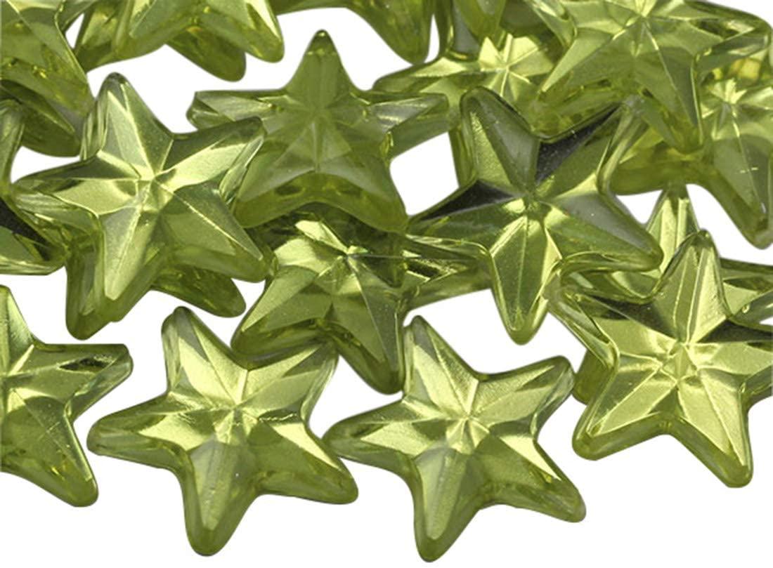 KraftGenius Star Rhinestones Embelishments 15mm Flat Back Acrylic Plastic Gems for Jewelry, Crafts, Costumes, Invitations, Cosplay - 35 Pieces (Jonquil .JQ26)