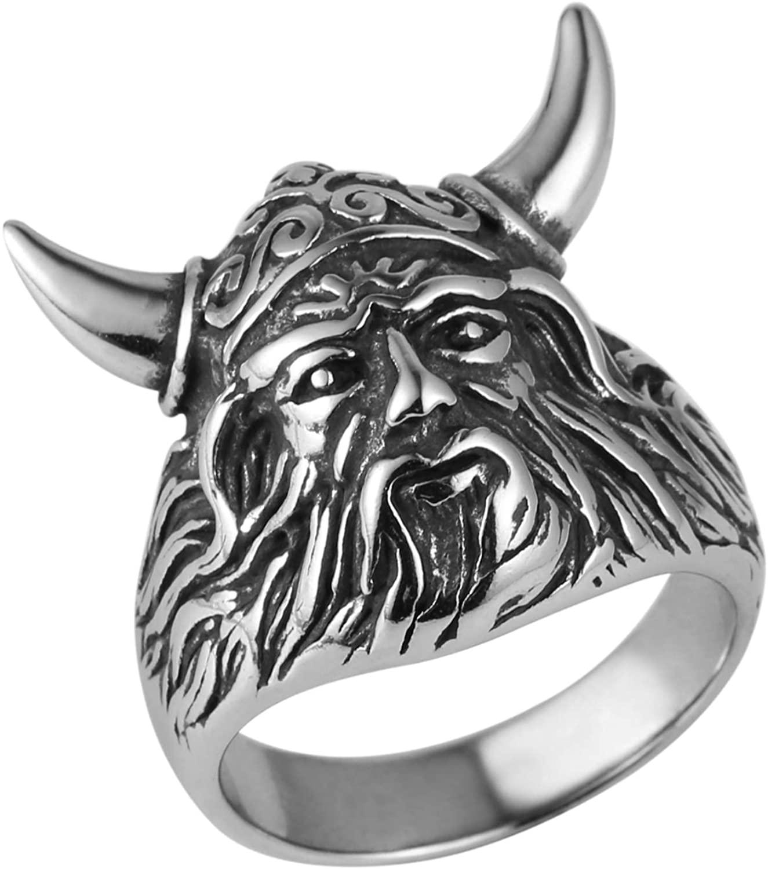 AsAlways Men's Stainless Steel Viking Warrior Ring Ancient Greek God Olaf Druid Gothic Biker Punk Vintage Ring Spartan Mask Helmet Nordic Pagan Ring