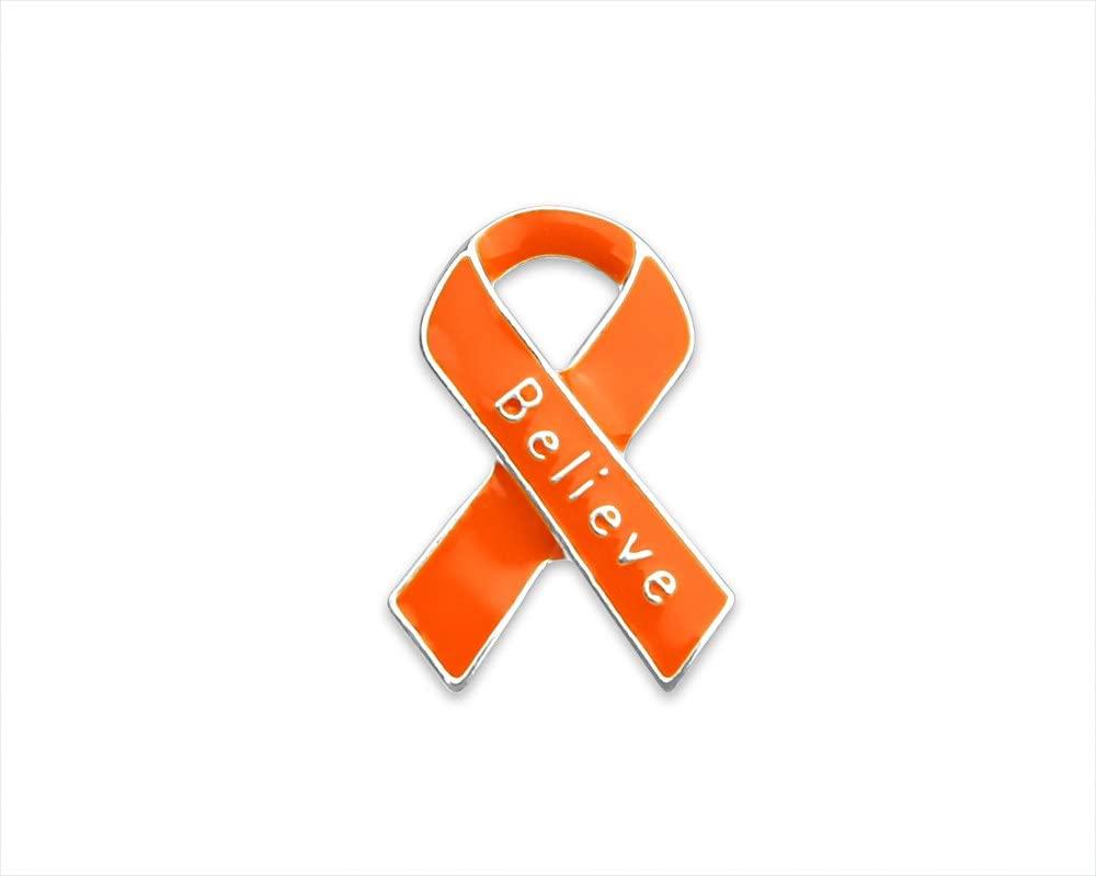 25 Pack Orange Ribbon Believe Pins (Wholesale Pack - 25 Pins)