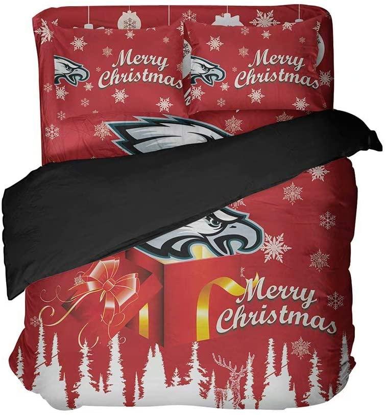 WOWFEEL Philadelphia City Sports Duvet Covers Queen Size Football Duvet Covers Merry Christmas Bedding Set,4Pcs(1 Duvet Cover, 1 Bed Sheet, 2Pillowcases Cover)