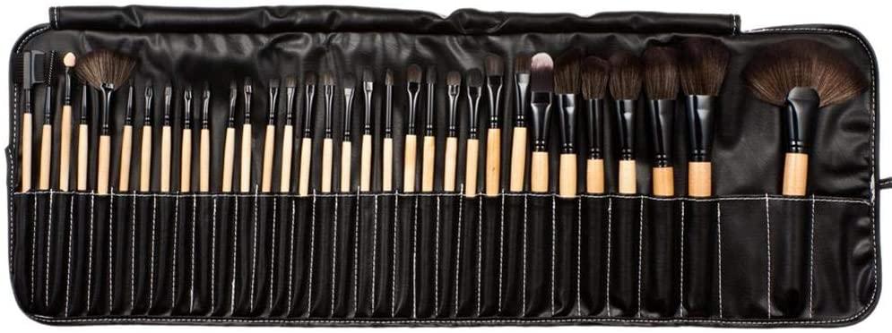 AYNEFY 32pcs Nylon Wool Bristle Wooden Handle Professional Cosmetic Brush Set