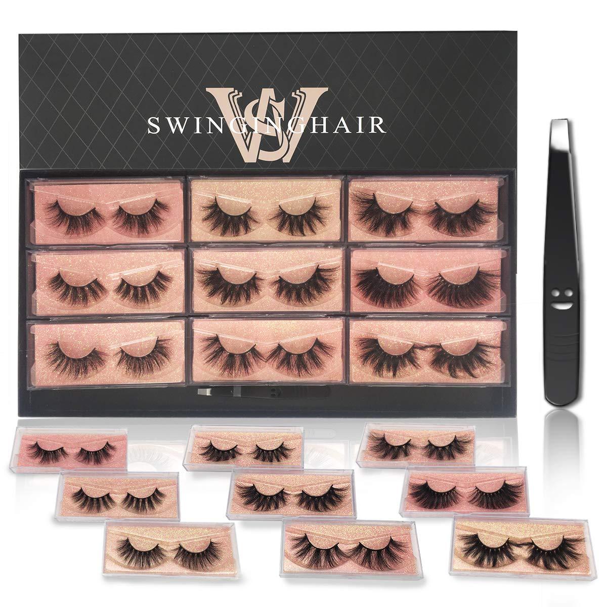 SWINGINGHAIR 3D Mink Eyelashes, 9 Different Styles Mink Lashes 16mm to 25mm Multipack 100% Real Siberian Mink Fur Fake Eyelashes Luxury Natural Reusable Handmade False Eyelashes 9 Pairs.