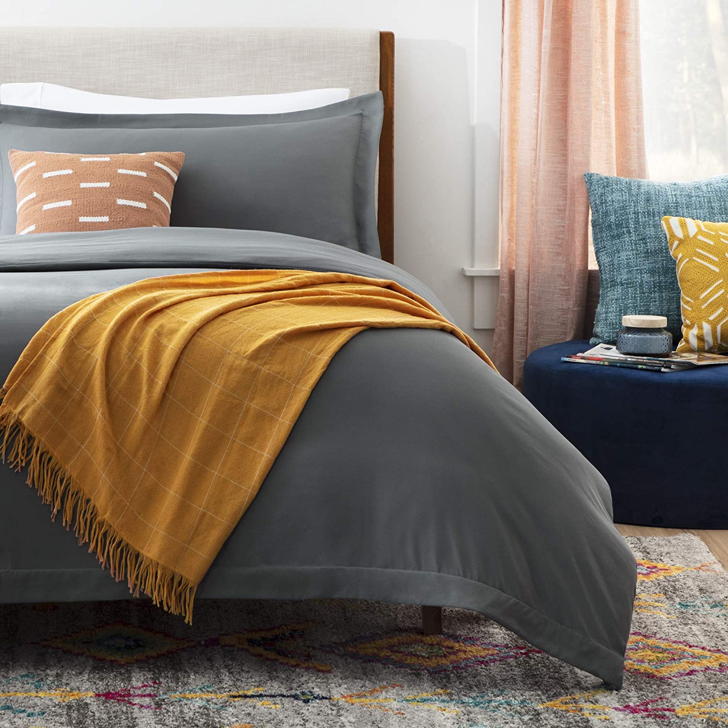 Linenspa Microfiber Duvet Cover - Two Piece Set Includes Duvet Cover and One Sham - Soft Brushed Microfiber - Hypoallergenic, Charcoal, Twin
