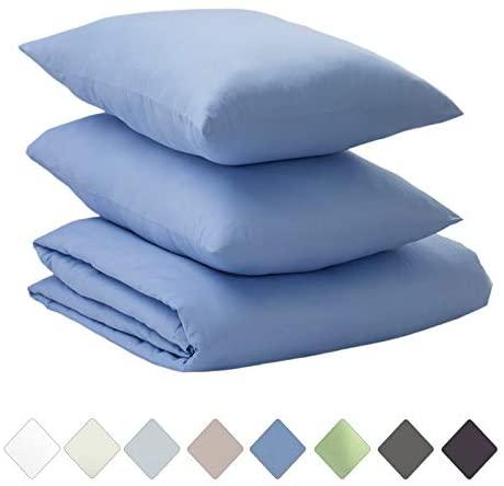 Callista 100% Cotton Sateen Duvet Cover Set 400 Thread Count -Queen Size, Wrinkle-Free, Fade, Stain Resistant, Hypoallergenic -1 Duvet Cover 2 Pillowcase -3 Piece Set -Blue