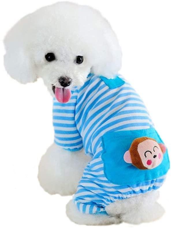 Pet Dog Pajamas Soft Strip Cotton Shirt Jumpsuit Cute Dog Cat Cool Clothes Apparel for Play Sleep