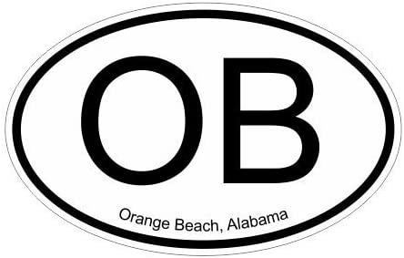 Slap-Art OB Orange Beach Alabama Oval Vinyl Decal Sticker