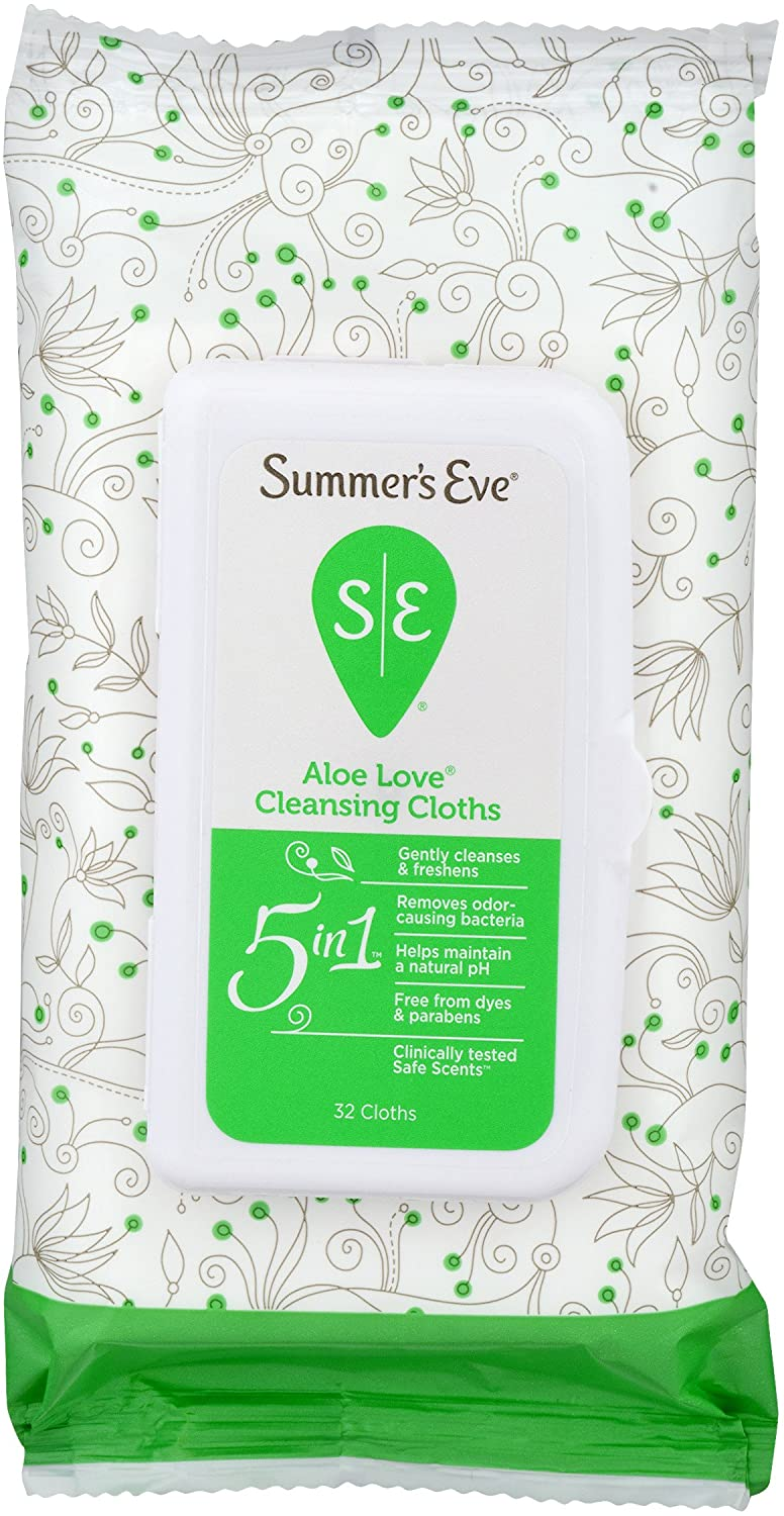 Summer's Eve Cleansing Cloths, Aloe Love, pH-Balanced, Dermatologist & Gynecologist Tested, 32 Count, Pack of 12