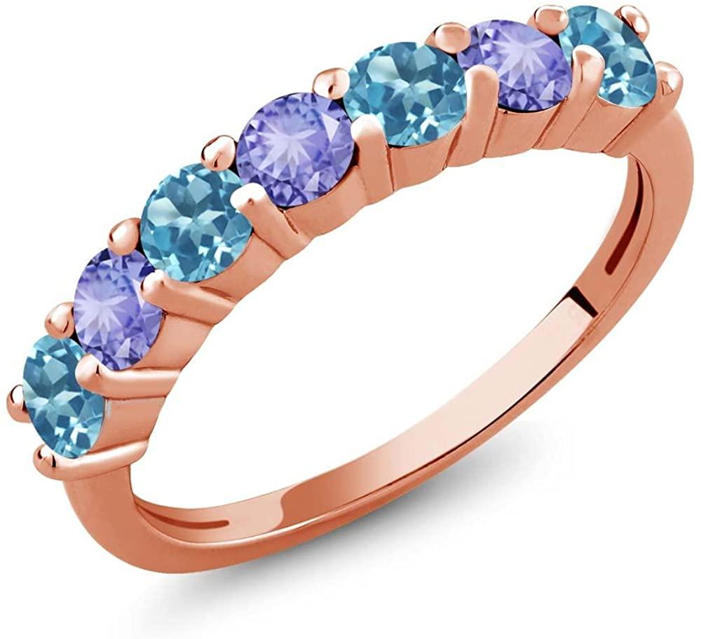 Gem Stone King 1.34 Ct Round Swiss Blue Topaz Blue Tanzanite 18K Rose Gold Plated Silver Anniversary Ring