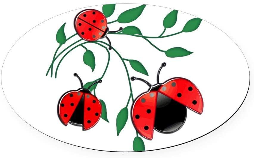 CafePress Delicate Ladybugs On Graceful Leav Oval Car Magnet, Euro Oval Magnetic Bumper Sticker
