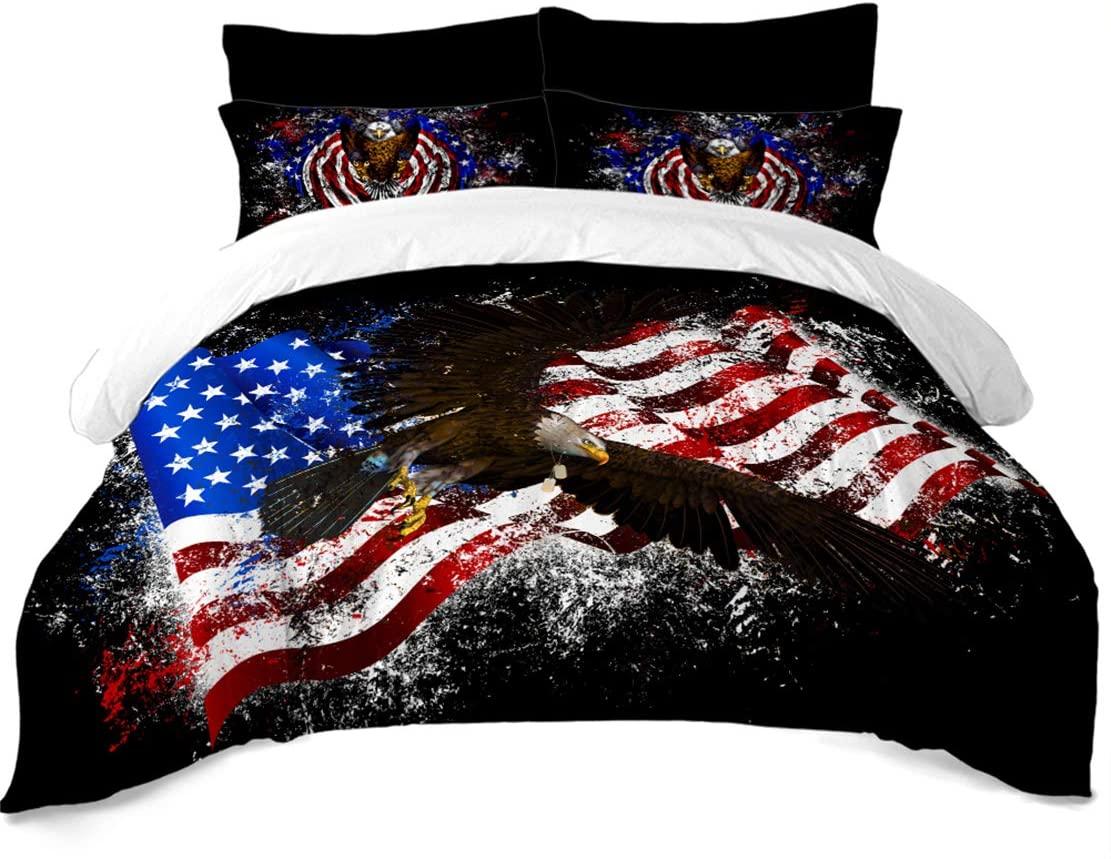 JARSON Colorful American Flag Bedding Sets Bald Eagle Printed Duvet Cover Sets Flag Theme Patriot Quilt Cover King Size