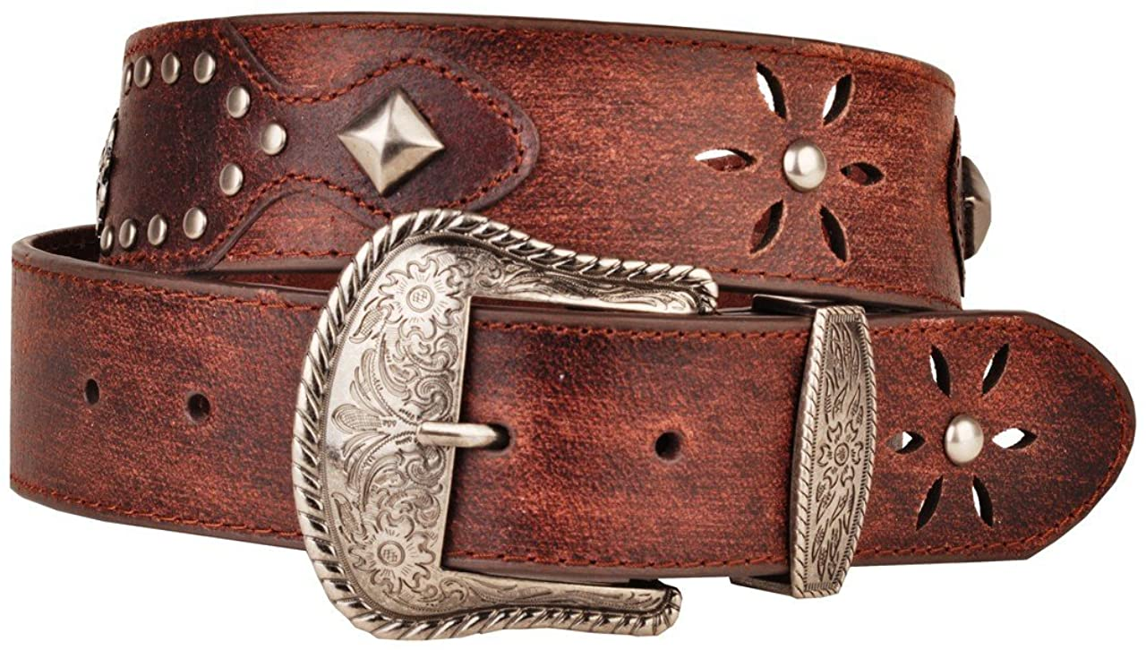 Womens Faded Brown Leather Belt Metal Studs and Star Cut Out Western Buckle