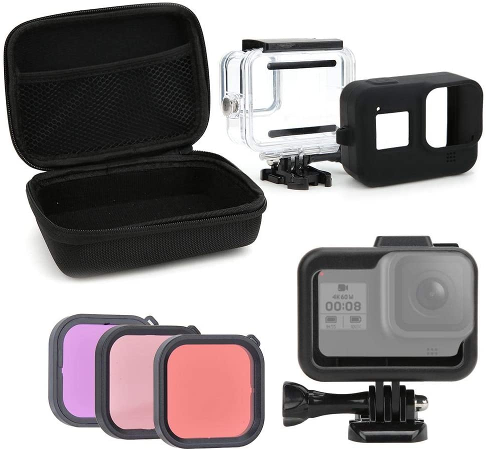 Bindpo Sports Camera Accessory Kit for Gopro Hero 8, 45M Waterproof Housing + Diving Filter + Storage Case + Screen Tempered Film