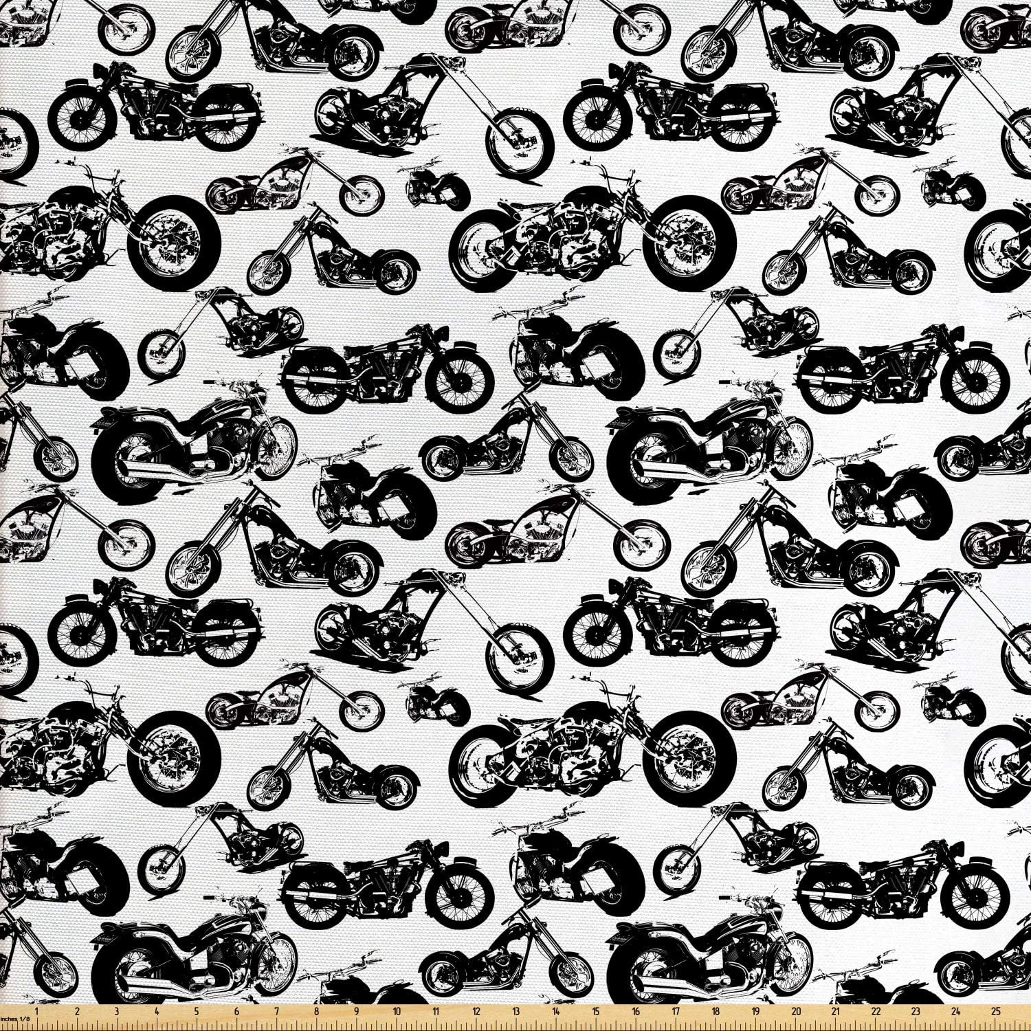 Ambesonne Motorcycle Fabric by The Yard, Retro Chopper Pattern Monochrome Motorbike Design Adventure Cruising Theme, Decorative Fabric for Upholstery and Home Accents, 2 Yards, White and Black
