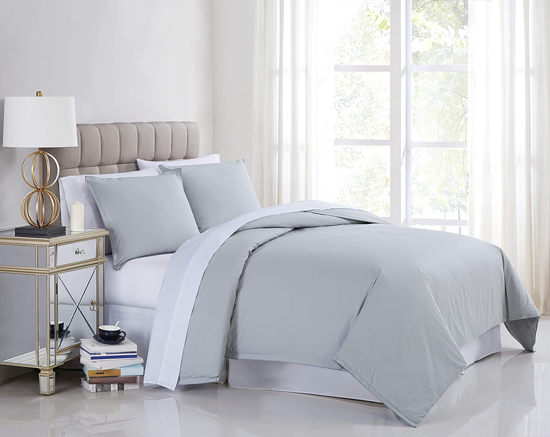Charisma Percale Cotton 400 Thread Count Duvet Cover Set, Full/Queen, Grey