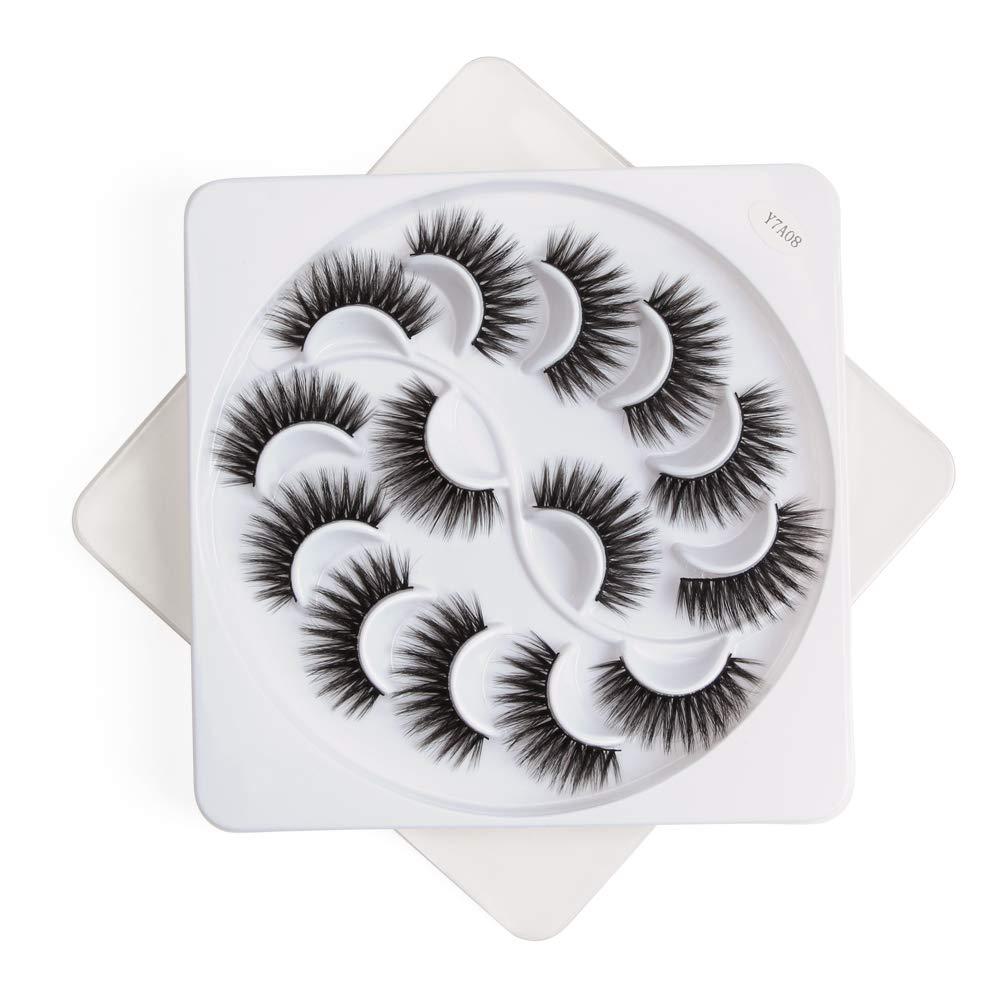 3D/5D Mink False Eyelashes Kit, GLAMADOR Fluffy Fake Eyelashes Set, Dramatic Looking Eyelashes, Natural Look Makeup Soft Thick Lashes Kit -Reusable,Y7A08