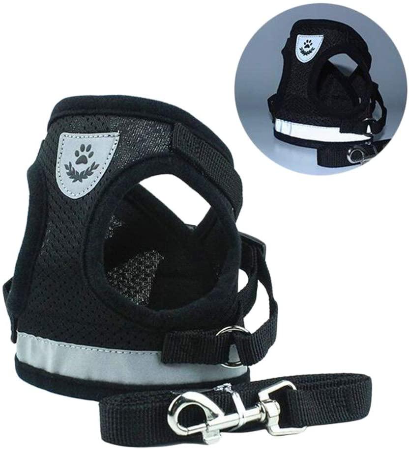 Xiaoyu Reflective Dog Vest Harness Leash Set, Harness Adjustable 3M Reflective Vest Small, Medium, Large Dogs