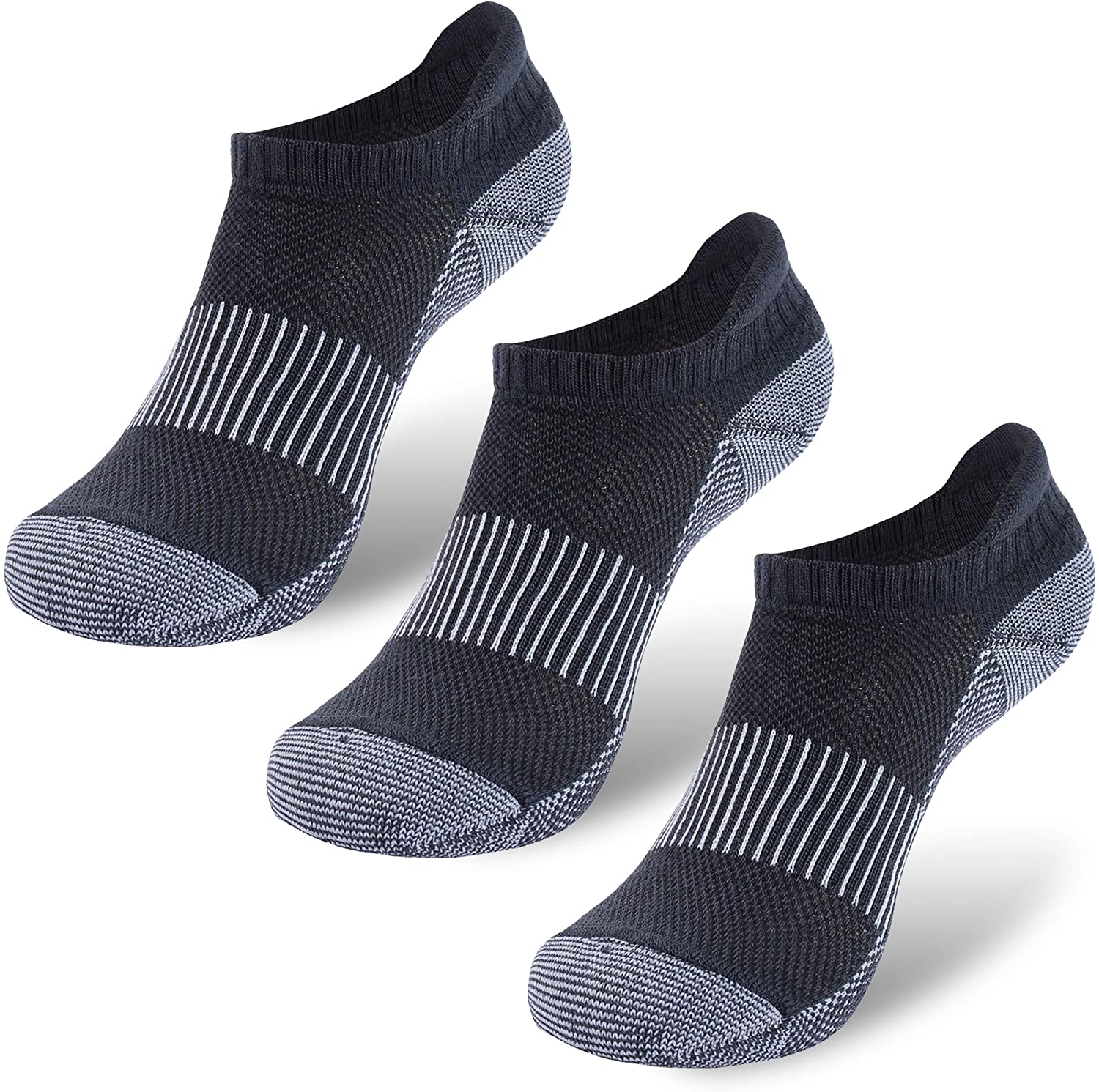 Copper Low Cut Socks Women, Three street Comfortable Moisture Wicking Ankle for Sweaty Feet Anti Slip Cushioned Sole Heel Breathable Home Running Copper Socks Fathers Day Gifts Dark Grey 3 Pairs S