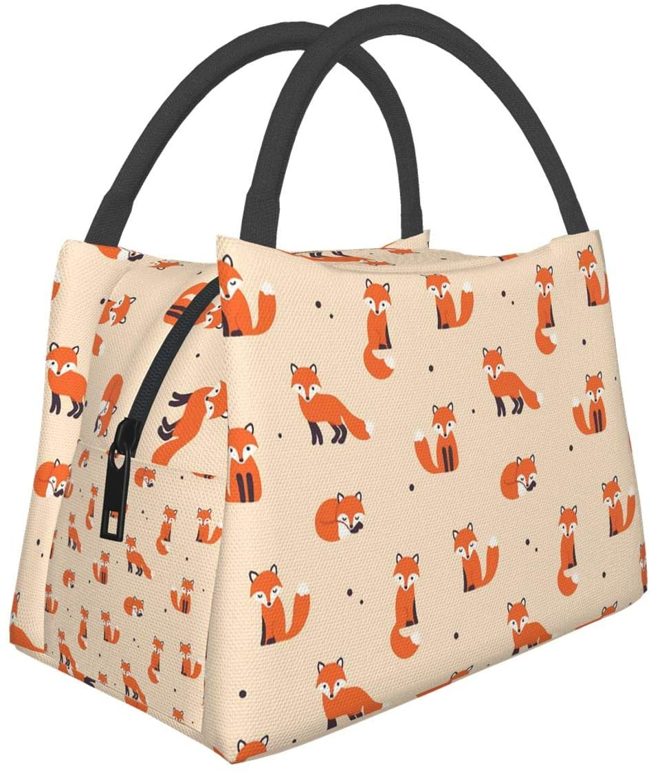 Vintage Cute Little Red Fox Lunch Bag Tote Bag Lunch Bag for Men Women Lunch Box Reusable Insulated Lunch Container Work Pinic or Travel