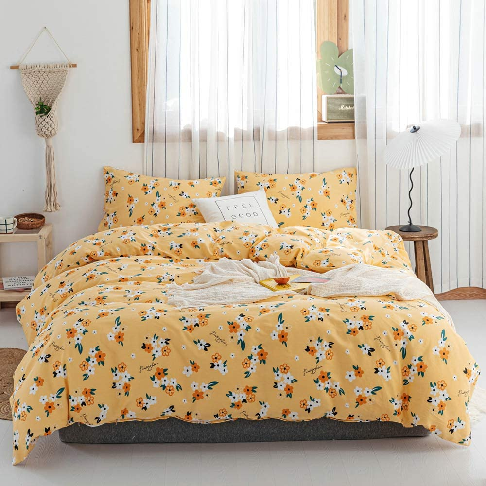 EAVD Floral Duvet Cover Queen Ultra-Soft 100% Cotton Yellow Bedding Duvet Cover with 2 Pillowcases Garden Style Floral Bedding Sets for Girls Women Floral Comforter Set with Zipper Closure