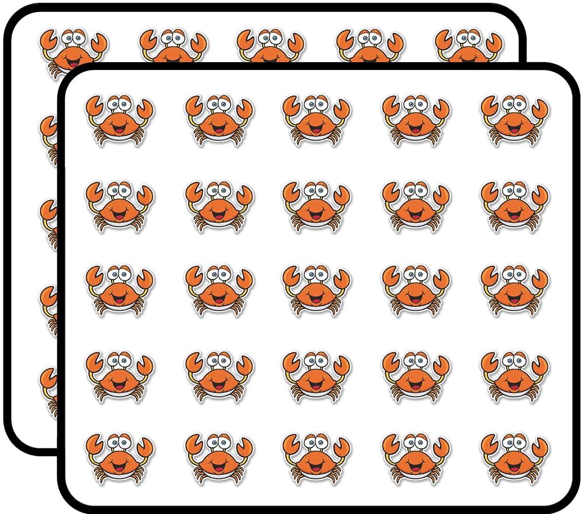 Happy Crab Sticker for Scrapbooking, Calendars, Arts, Kids DIY Crafts, Album, Bullet Journals 50 Pack