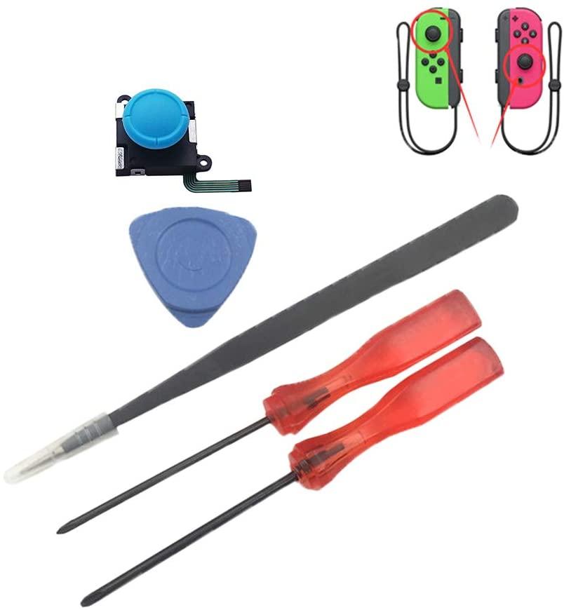 Meijunter Analog Joystick Stick for Nintendo Switch Joy-Con - Replacement Left/Right Analog Joystick Bar with Cap (2PCS Red)