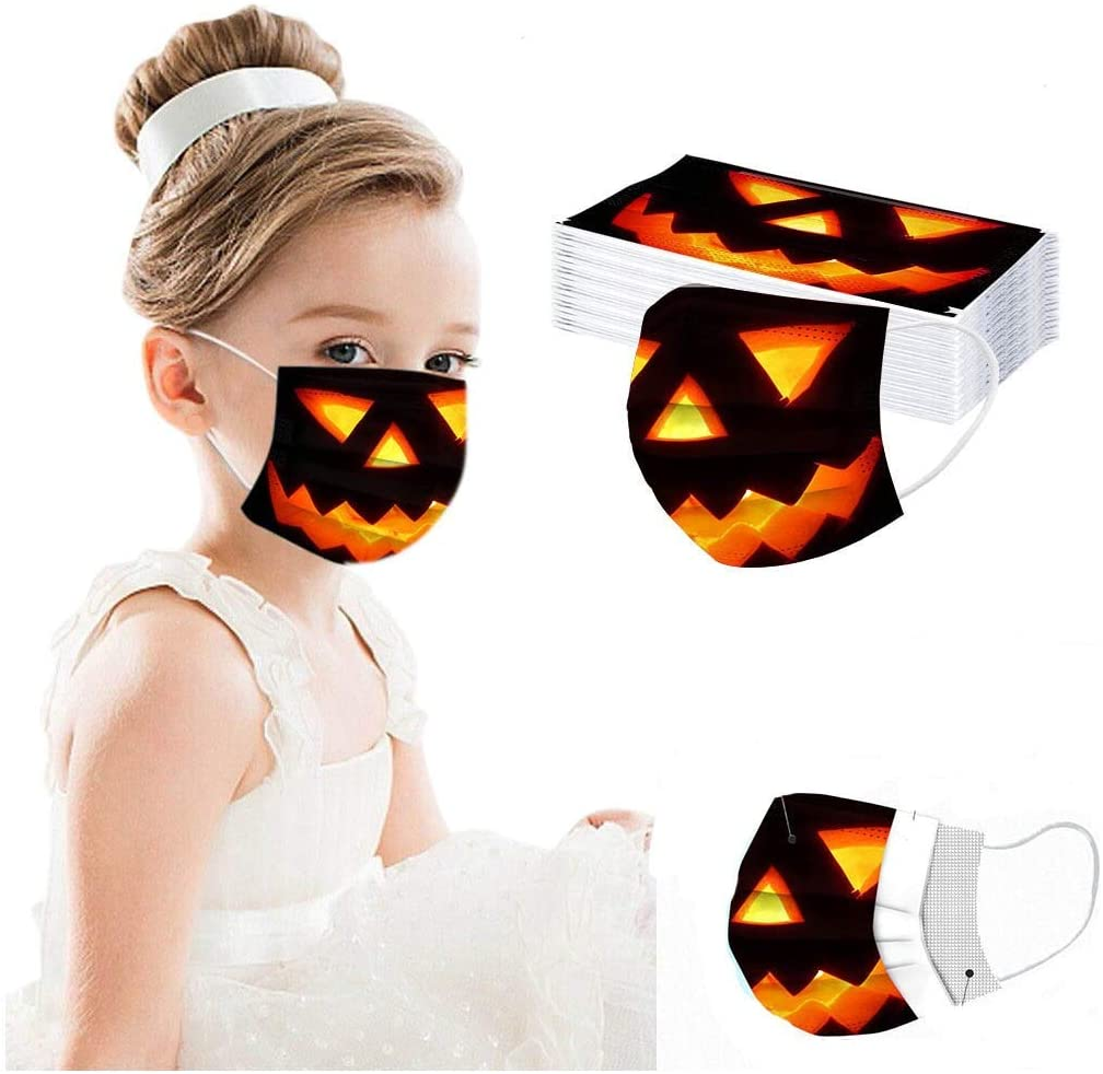 Face_Mask Disposable for Children,50 Pcs 3-Ply Soft Breathable Mouth Guards for Halloween Party