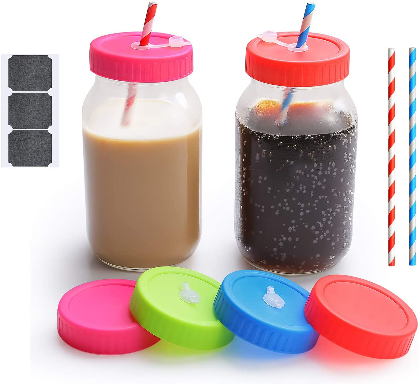 CONNYAM 2pcs 24 Oz Regular Mouth Mason Jars with Lids, 12 pcs Disposable Straws, 4pcs Drinking Lids with Straw Hole & 2pcs Leak-proof Lids Seal Storage