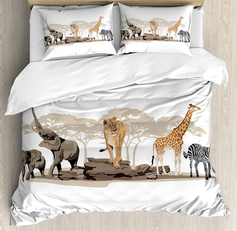 Ambesonne Safari Duvet Cover Set, Illustration of Wild Savannahs Animals Exotic Giraffe Lion Elephant Zebra, Decorative 3 Piece Bedding Set with 2 Pillow Shams, Queen Size, Beige