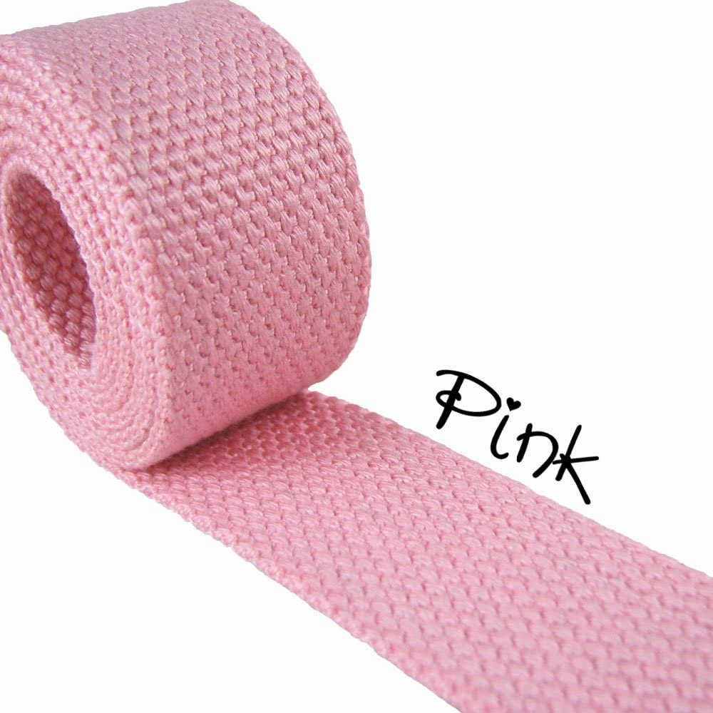 Pink - Heavy Canvas Webbing Roll 1.25 for Key Fobs, Purse Straps, Belting (10 Yard Roll)