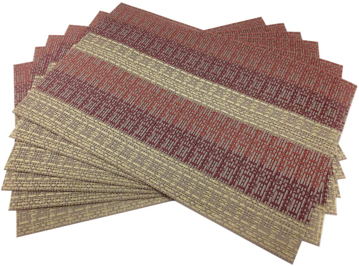 Gugrida Placemats Set of 6 for Kitchen Dining Table Mats PVC Crossweave Vinyl Placemat Heat Resistant Washable (6,Red)