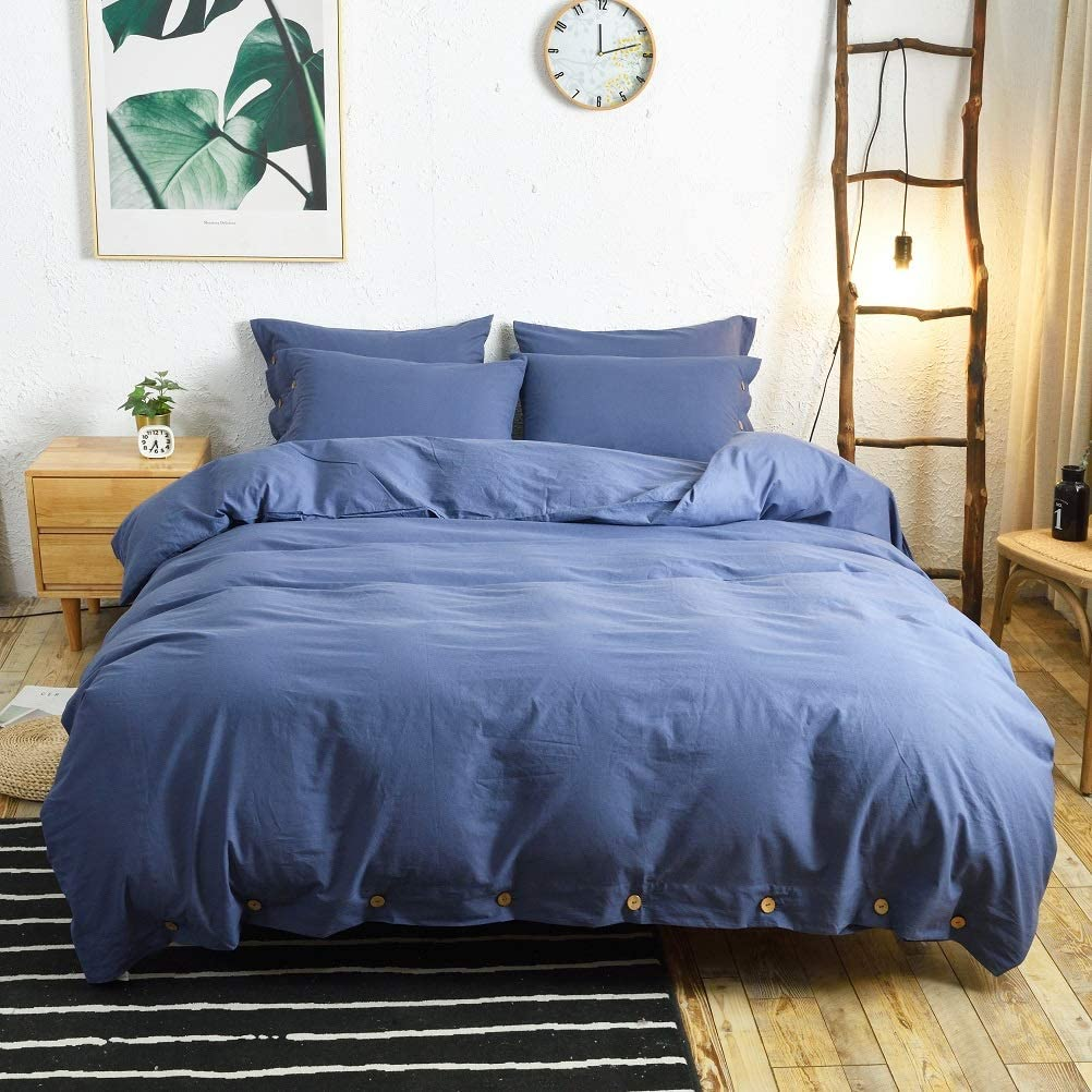 M&Meagle 3 Pieces Blue Duvet Cover King,100% Washed Cotton Duvet Cover with Button Closure,Ultra Soft Natural Cotton Bedding Set-King Size(1 Duvet Cover 2 Pillowcases)